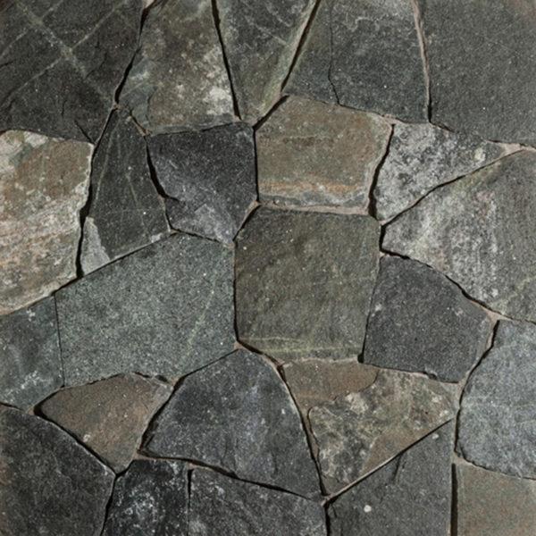 Connecticut White Line Mosaic thin veneer stone