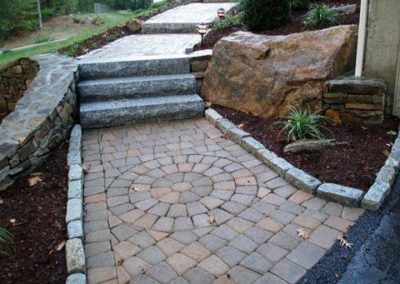 Yankee cobble circle pack with granite steps