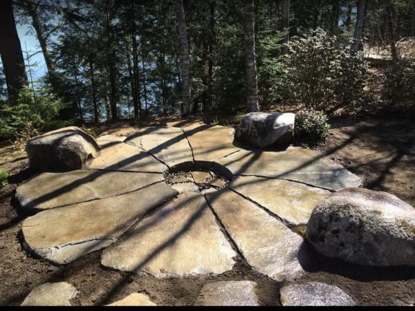 Unique stone patio and fire pit