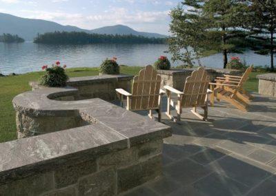 Bluestone patio with Corinthian wall