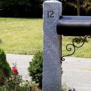 Granite mailbox post with engraved numbers