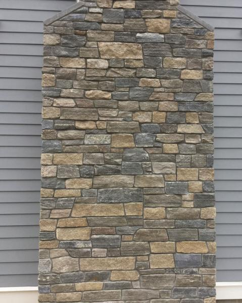 Chimney with New England Blend ashlar stone veneer
