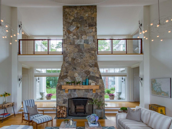 New England Blend Mosaic Thin Veneer Stone Fireplace