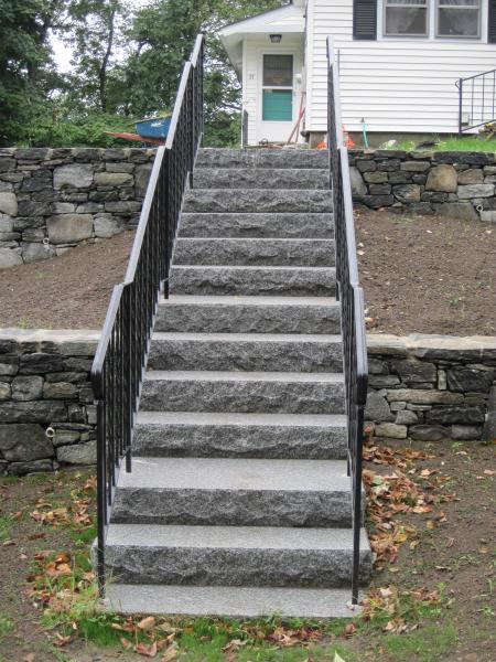Rock faced Caledonia granite steps