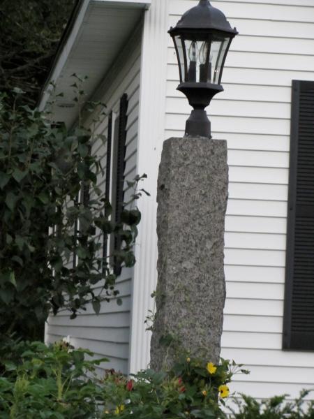 Rough granite lamp post