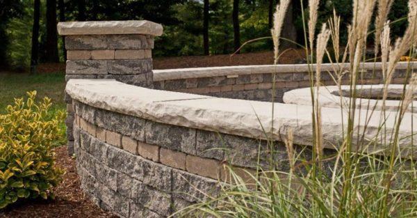 Unilock Estate Wall segmented wall block patio wall and fire pit