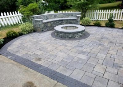 Grand Kathadin meadow patio with CT whiteline wall and firepit