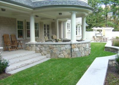 New England Fieldstone walls with granite caps and steps