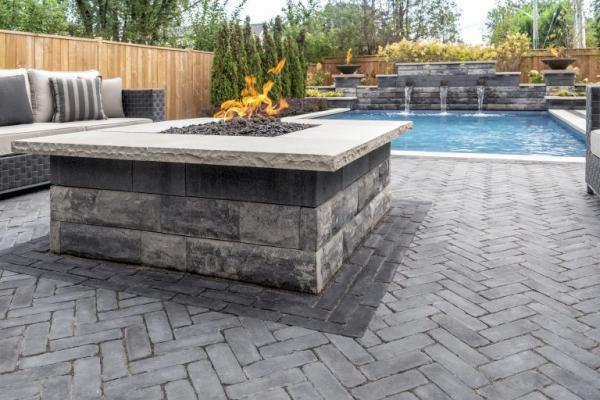 Ucara firepit with ledgestone coping on copthorne patio