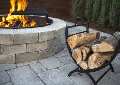 Sunset fire pit almond grove on Brussels limestone patio