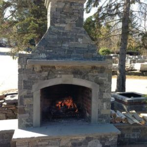 CT Whiteline fireplace with bluestone caps