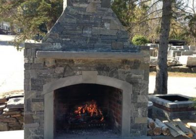 CT Whiteline fireplace with bluestone caps