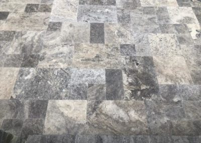 Close up of travertine silver