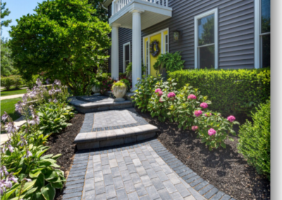 Hollandstone granite gray walkway with charcoal border