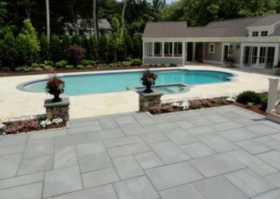 Thermal Bluestone patio and sandy point granite pool deck