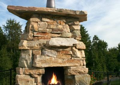 Southbay quartizite outdoor fireplace
