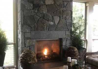 CT Whiteline mosaic veneer fireplace