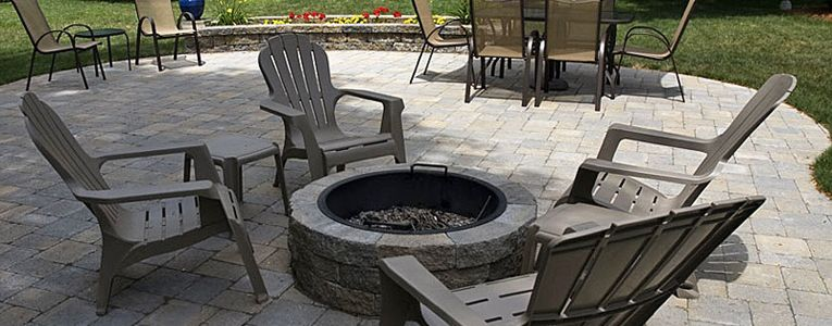 Patio built with Ideal Concrete Millstone Pavers